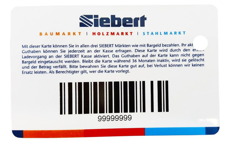 Barcode cards, plastic cards with barcodes, codification of number series