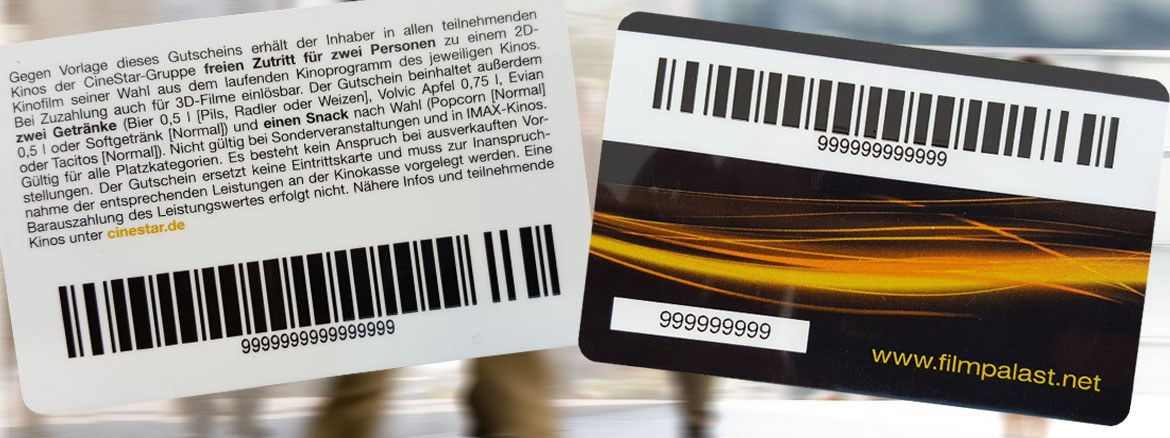 Barcode cards - ideal for the use as customer cards and gift cards