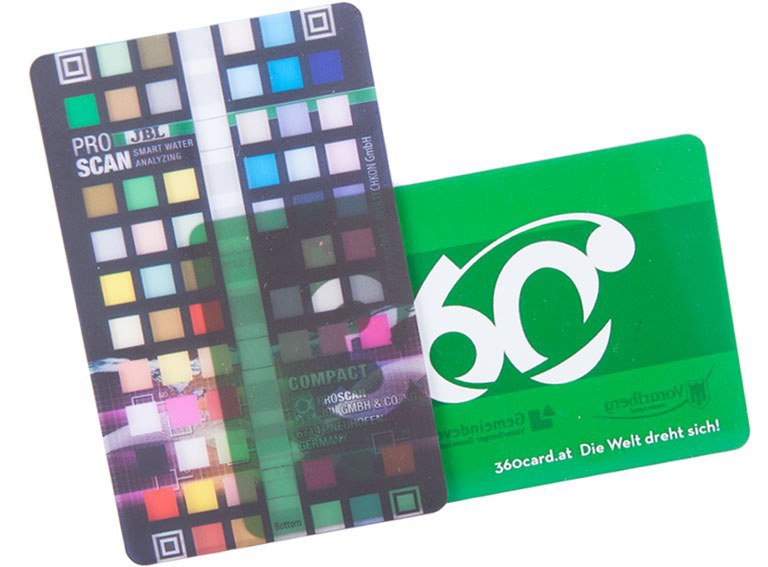 Transparent card, see-trough or inked colourful plastic card