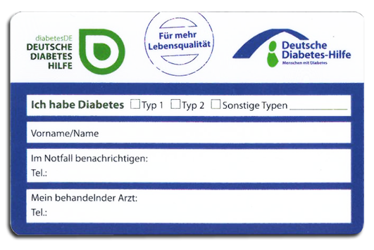 Diabetesausweis Musterkarte
