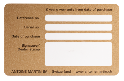 back of a warranty card with free field for personalization