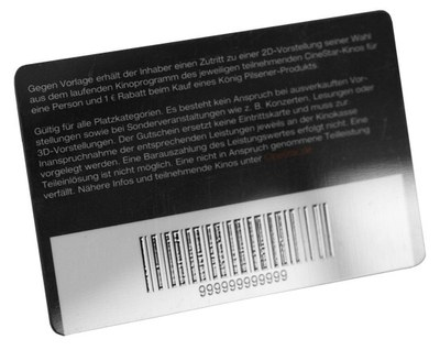 Plastic card, personalized with barcode