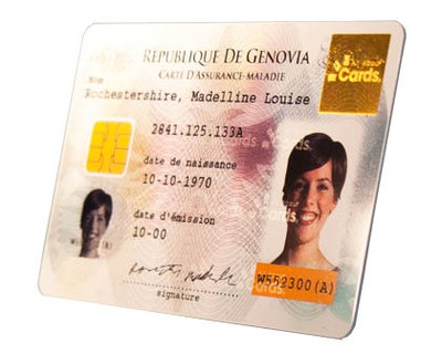 plastic card with picture and personal data