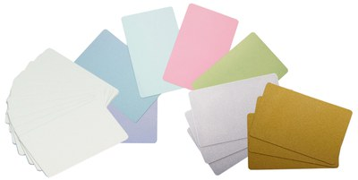 Blank plastic cards in white and coloured