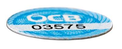 RFID-Sticker mit Hologrammmuster und aufgedrucktem Code