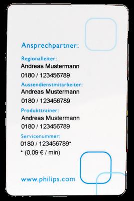 Servicekarte mit personalisierter Rückseite