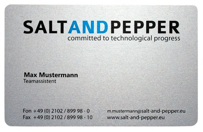 customer example: business card made of metal
